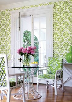 Thai Ikat Wallpaper Cream wallpaper with Green Ikat print as it looks on the wall (fabrics and papers)