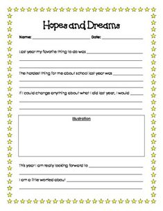 This is printable goal setting/reflection worksheet titled 'Hopes and Dreams.' It is based off of the Hopes and Dreams lessons from the Responsive ...