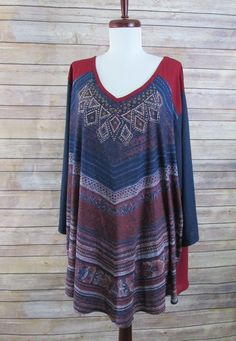 ea9c7d8749a CATHERINES L ATTITUDE Tunic Blue Burgundy Top Size 3X 26 28 V Neck 3 4  Sleeves  Catherines  Tunic  Casual