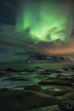 Green sky at night - Northern Lights - Utakleiv Beach on the Lofoten Islands