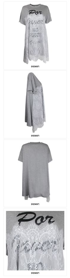 KOREA--前下拼網蕾絲傘擺長上衣
