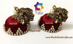 Silk thread jhumkas – Khushi Handicrafts Silk Thread Jhumkas, Silk Thread Earrings, Thread Jewellery, 11 August, Ball Chain, Crystal Earrings, Handicraft, Handmade Jewelry, Pearls