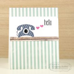 Hello - Scrapbook.com - Use a strip of woodgrain paper to simulate a table on this sweet hello card.