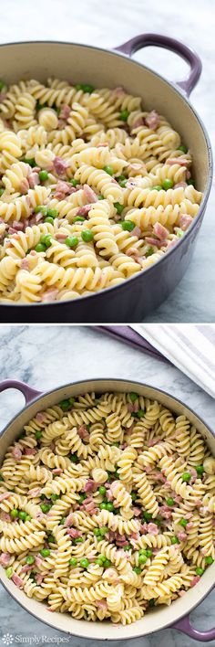 Pasta with Ham and Peas - Great use for leftover ham! Quick and easy, ham and peas with pasta, cream, and Parmesan.
