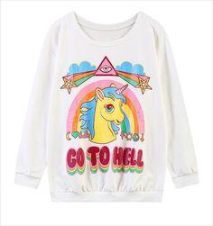 Women Unicorn hoodies - My Little Pony Rainbow GO TO HELL printed women sweatshirt