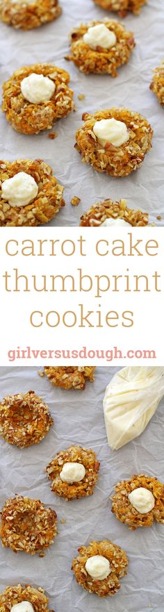 Carrot Cake Thumbprint Cookies -- tastes like carrot cake, but in cookie form! And you'll never guess the secret ingredient that makes this treat extra delicious. girlversusdough.com @girlversusdough