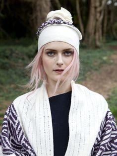 Fairisle one size shawl and matching hat with oversized Pom Pom
