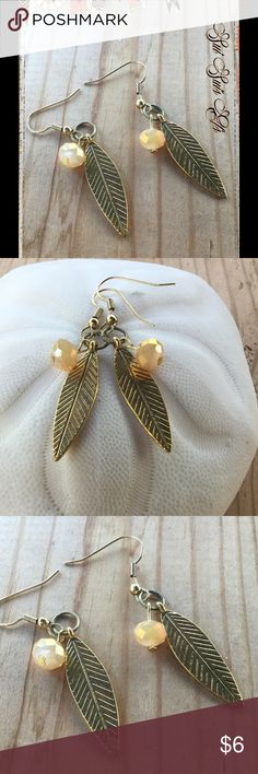 Cute leaf and crystal earrings Hand made by me. Antique gold and light peach 💕Buy one jewelry item get the second one 1/2 off of equal or lesser value 💕 Jewelry Earrings