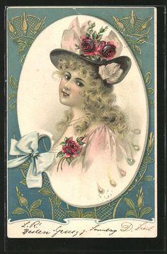 old postcard: AK junge Frau trägt Rosen am Hut