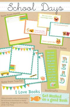 This really cute set of labels for School Kids and Teachers is designed by Erin Rippy of  InkTreePress.com Printables are in PDF templates, they are both fillable and editable. Yes, they are ready for your to insert your own text and personalize. See set one here: http://blog.worldlabel.com/2012/school-days-printables-notes-part-2.html
