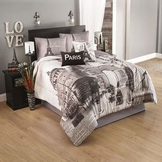 Is teal the new Paris bedding pink? It's easy to see why on this teal, black and white Queen or Twin comforter set with an arty, European monuments design. Paris Room Decor, Paris Rooms, Paris Bedroom, Teen Room Decor, Paris Themed Rooms, Teen Rooms, Bedroom Themes, Bedroom Decor, Bedroom Ideas