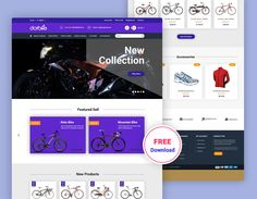Bicycle E-commerce Free PSD Template Free Website Templates, Html Templates, Bike Accessories, Site Design, Flat Design, Bicycles, Wordpress Theme, Ecommerce, Grid