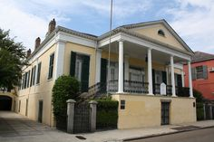 "General Beauregard's Home, New Orleans, LA | The Beauregard-Keyes House was built in 1826 by a wealthy New Orleans auctioneer. This ""raised cottage"" features Doric columns and handsome twin staircases and was once home to General P.T.G. Beauregard who occupied the house with several members of his family from 1865 to 1867. From 1944 to 1970 it was the residence of novelist Frances Parkinson Keyes, who wrote a book about the General. The house is a favorite s"