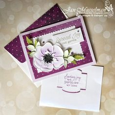 Poppy Cards, Elegant Flowers, Exotic Flowers, Purple Flowers, Get Well Cards, Stamping Up, Rubber Stamping, Flower Cards, Homemade Cards