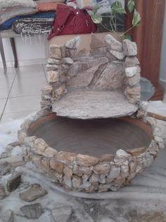 Backyard Water Fountains, Diy Water Fountain, Diy Waterfall, Waterfall Fountain, Cement Crafts, Stone Crafts, Garden Crafts, Garden Art, Prayer Garden