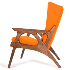Danish modern armchair, wood and orange