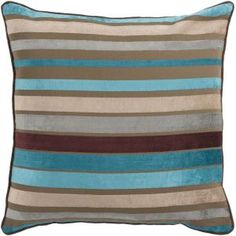 """CC Home Furnishings 22"""" Bright and Vibrant Brown and Teal Striped Decorative Throw Pillow"""
