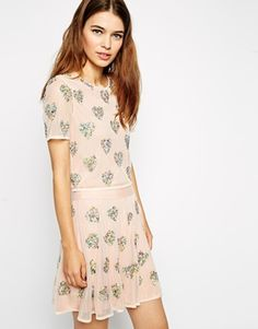 ASOS Top with Woven Layer and Sequin Hearts