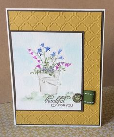 Art Impressions: Ai Wonderful Water Color... handmade watercolor card with pail and flowers. Art Impressions Watercolor series stamp sets (flowers, greenery, containers)