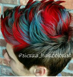 Men's hair. Haircut. Mohawk. Red and blue hair. L'anza Vibes Blue and Red.  @sierra_haircolorist on Instagram