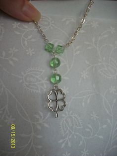 Green Beaded Heart Shamrock Necklace  Four by DysfunctionalAries, $17.00