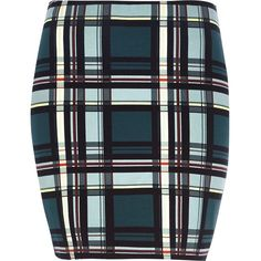 River Island Teal check mini tube skirt (39 ILS) ❤ liked on Polyvore featuring skirts, mini skirts, bottoms, sale, elastic waist mini skirt, tartan plaid mini skirt, checked skirt, plaid mini skirt and tartan skirt