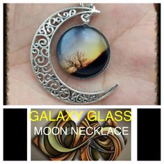 Buy 2 Get 3 FREE! Galaxy Glass Moon Necklace. NWT. Galaxy Glass Moon Necklace. NWT. Jewelry Necklaces