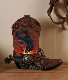 Western Cowboy Boot Broncos Horses Lights Table Lamp Accent Home Decor | eBay