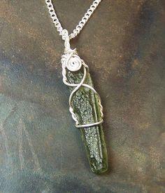 Moldavite  Moldavite necklace pendant  Sterling by mandalarain, $40.00