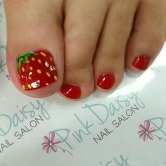 STRAWBERRIES! Cute toe nail art design idea | unas