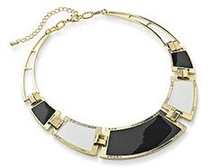 SAVVY CHIC, CANNY STYLE: Awesome Accessories: Black, White and Gold Statement Necklace from Fashion World