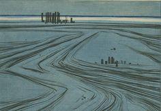 """Hans Eglau. """"Marine Landscape."""" 1960. Etching, color."""