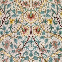 William Morris Patterns, William Morris Art, Textile Patterns, Textiles, Textile Prints, Foyer Wallpaper, Medieval Pattern, Asian Fabric, Edward Burne Jones