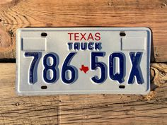 Texas Truck License Plate Number 7865QX    #VintageTexasPlate #LicensePlate #tx #texas #7865QX #truck
