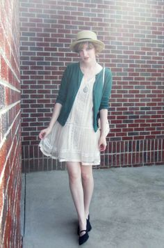 White lace dress, green cardigan, straw boater hat