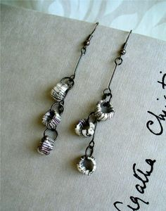 Handmade Paper Beads Earrings.  FlourishAndDebonair  $25