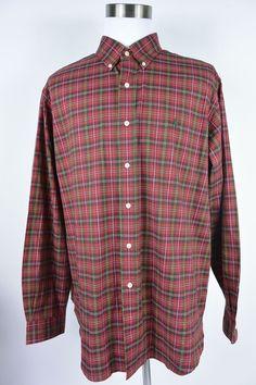 Ralph Lauren 2XL XXL Classic Fit Red Green Plaid Oxford Button Shirt Mens #184 #RalphLauren #ButtonFront
