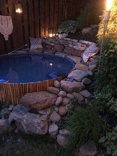 bluesmoke Small yard landscaping ideas Stock tank pool at night Pools For Small Yards, Backyard Ideas For Small Yards, Small Backyard Pools, Fun Backyard, Small Yard Landscaping, Landscaping Ideas, Modern Landscaping, Landscaping Plants, Small Yard Design