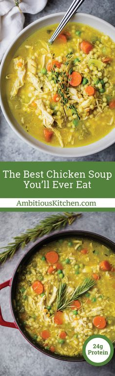The BEST chicken soup you'll ever eat is the best homemade nourishing healthy soup when you're feeling under the weather. Packed with anti-inflammatory ingredients like ginger, turmeric, garlic. BEST SOUP EVER! Swap couscous for quinoa. Best Chicken Soup Recipe, Chicken Recipes, Chicken Soups, Roast Chicken, Boneless Chicken, Rotisserie Chicken, Healthy Soup, Healthy Eating, Healthy Recipes