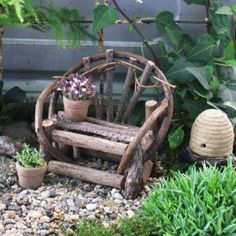 Willow Bench, Miniature Garden, Terrarium, Dollhouse