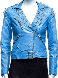 c4f65420d88 Hand Made Blue Women Genuine Leather Jacket Spiked Silver Studs Front  Zipper Features: 100 % Genuine Cowhide Leather to MM Cowhide Milled Leather  used Fine ...