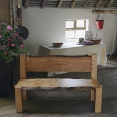Solid oak bench with personalised handcarved message - Made by Spalted Handmade Wood Furniture, Bespoke Furniture, Oak Frame House, Oak Bench, Great Wedding Gifts, Wooden Gifts, Solid Oak, Hand Carved, Carving