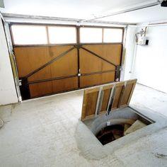 Garage Trap Door Garage Stairs, Basement Entrance, Double Garage Door, Garage Construction, Panic Rooms, Garage Interior, Room Interior, Interior Design, Home Wine Cellars