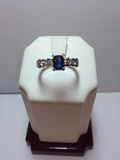 14k White Gold Emerald Cut Sapphire with Diamonds only $225!  www.goldassayinc.com