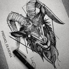 Desenho feito por Fredão Oliveira. #tatuagem #tattoo #blackwork #desenho #bode