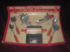 RARE Complete Set of Vintage Miniature Toy Kitchen Utensils on Card! Circa 1940's by Mego