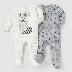 Pyjama coton interlock (lot de 2) 0 mois-3 ans R essentiel : prix, avis & notation, livraison. Les 2 pyjamas en interlock pur coton. Lot composé d'1 uni imprimé devant + 1 imprimé. Fermeture et pont au dos pressionnés. Pieds antidérapants à partir de 12 mois (74 cm), élastiqués au dos pour un meilleur maintien.
