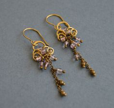 A personal favorite from my Etsy shop https://www.etsy.com/listing/522271703/amethyst-antique-brass-earrigns-purple