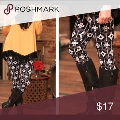 SOFTEST leggings in Santa Fe print You will want to live in these leggings!  So incredibly soft and comfortable!!!  These feature a Santa Fe print in black, white and gray!!! Infinity Raine Pants Leggings