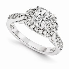 14KW VS Diamond Semi-mount Halo Engagement Ring Available at www.DJsJewelry.com